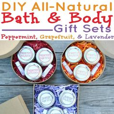 These 3 easy DIY all-natural bath and body gift sets are made with essential oils and all-natural ingredients. If you like making handmade gifts or use essential oils (or are thinking about using them) keep reading for how to make an all-natural beauty products gift set to give to loved ones (perfect for holiday gifts too!). Download the free printable labels to create an easy handmade gift for the ladies in your life!