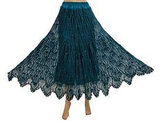"Womens Hippie Boho Fashion Skirts Dark Blue Crochet Cotton Long Skirts 39"""