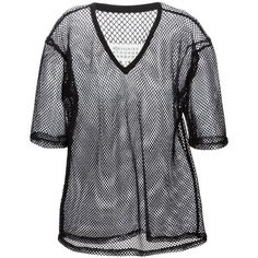 Maison Margiela fish net T-shirt (€225) ❤ liked on Polyvore featuring tops, t-shirts, black, black tee, black v neck tee, loose fit t shirts, loose fitting tops e loose tee