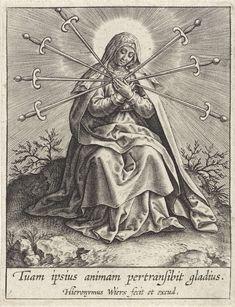 Maria als Mater Dolorosa, Hieronymus Wierix, 1563 - voor 1619