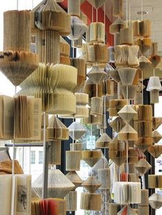 Hanging book lights at Anthropologie