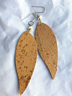 Cork and shell earrings. Cork and shell with sterling silver earrings.