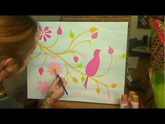 How To Acrylic Paint A Pretty Pink Bird - YouTube