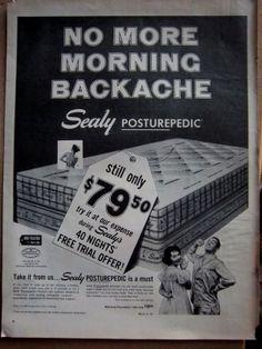 Vintage 1957 Sealy No Backache Ad #sealy #sleep #beds #mattresses
