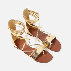 Image 4 of FLAT LACE-UP SANDALS from Zara