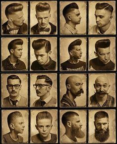 Schorem...Greaser hairstyles, beards, and mustaches.