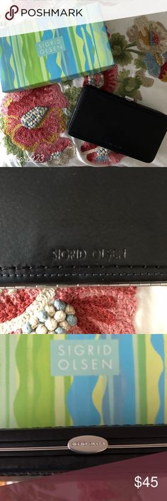 SIGRID OLSEN Black Leather Push Pin Hinge Wallet NWOT! This Sigrid Olsen Wallet is one of a kind! Beautiful soft black leather exterior. Turquoise/light green soft lining (similar to suede); 5 card slots; money slot and zip coin section. Metal hinge and branded accent push pin opening. Simply press down and release to open. Branded embossed name on outside. Consider bundling with a bag for discounted savings! Comes with original gift box. Note: leather has strong scent. Sigrid Olsen Bags…