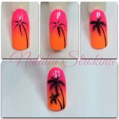 New Ideas palm tree nails nailart Nail Art Diy, Diy Nails, Cute Nails, Pretty Nails, Palm Tree Nail Art, Palm Nails, Nail Drawing, Nagellack Design, Nail Art Techniques