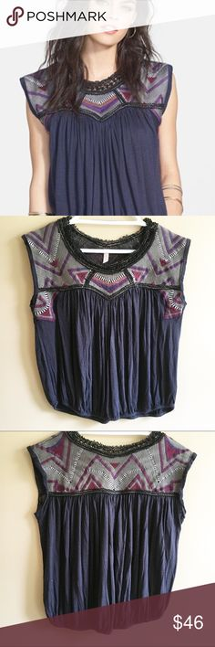 """FREE PEOPLE Tribal Disco Top, Medium FREE PEOPLE Tribal Disco Top, Medium Navy blue top with brocade along neckline.  Chest measures 19"""" and top is 21.5"""" long.  A bit of a Cropped look but def not crop top.  EUC Free People Tops"""