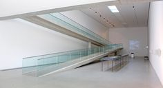Langen Foundation (interior) by ThonoLanMP on DeviantArt Glass Railing, Tadao Ando, White Concrete, Stairs, Building, Deviantart, Interior Design, Lighting, Home Decor