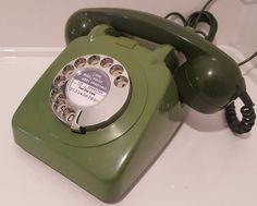 Original Vintage Retro 1960's GPO 706 Rotary Dial Green Telephone Restored