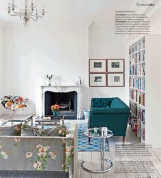 Eileen Grey side table & grey print fabric sofa, lots of books, teal sofa & great rugs. Living Etc, My Living Room, Home And Living, Living Spaces, Modern Living, Teal Couch, Turquoise Couch, Teal Rug, Floral Sofa
