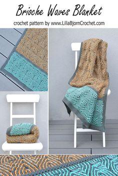 Brioche Waves Blanket Crochet Pattern (supporting the brioche crochet trend)