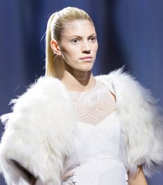 A fresh, natural glow and a sleek, slicked-back high ponytail. // #SS15 #PFW