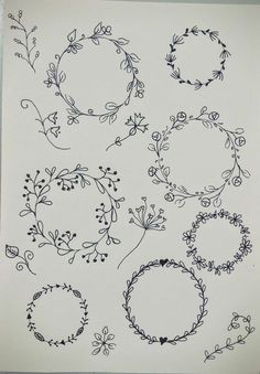 Inspiration to draw flowers in your art or bullet journal Embroidery Patterns, Hand Embroidery, Geometric Tatto, Wreath Drawing, Doodles, Diy Tattoo, Bullet Journal Inspiration, Doodle Art, How To Draw Hands