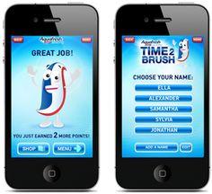 Aquafresh App Time 2 Brush.  Kids dress their own Nurdly!