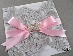 SILVER GLITTER LASER CUT INVITATION. PRINCESS CROWN. PINK RIBBON. SWEET SIXTEEN, QUINCEANERA, BIRTHDAY, BABY SHOWER, BRIDAL SHOWER. ELEGANT, UNIQUE, CUSTOM, BEAUTIFUL, VINTAGE.