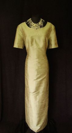 CONDICI Pale Gold Silk, Fully Lined, Short Sleeved, Maxi Dress with delicate gold embroidery, size UK18, suitable for Mature Bride, Mother of the Bride/Groom, Wedding Guest, Races or any Special Occasion...