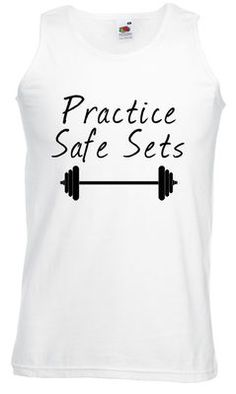 £9.99 Practice Safe Sets - Mens Weightlifting Vest - Worldwide Delivery - Gym, Dumbells LOL!