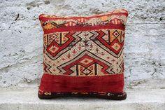 "Handmade Kilim PILLOW CUSHION COVER - Kilim Rug Anatolian Turkish 18"" x 18"" #Turkish"