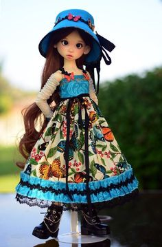 """Butterfly Paradise"" Dress Outfit Clothes for 18"" MSD Kaye Wiggs BJD Liz Frost #LuminariaDesigns"