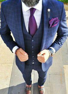 5be5a1c2 Blue three piece suit with purple tie. #mens #mensfashion #wedding #groom  #groomsmen #bespoke #giorgentiweddings #menstyle #suits #gentlemen #business