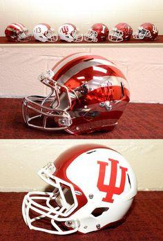 Indiana Hoosiers 2013 Football Helmets. Some wild designs in here #hoosiers #indiana #college