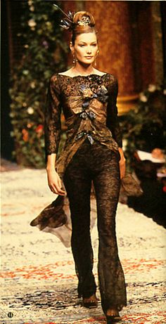 Christian Lacroix / Fall & Winter fashion show. 1996-1997.   Model / Carla Bruni.