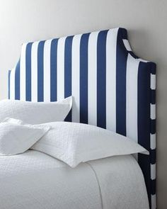 Beds/Headboards - Massoud Cabana Stripe Headboard I Horchow - navy blue and white striped headboard, navy and white striped headboard, uphol...