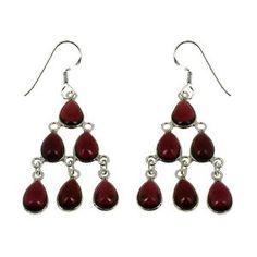 Boucles d'oreilles chandelier en Argent 925 et Grenats: ShalinCraft: Amazon.fr: Bijoux
