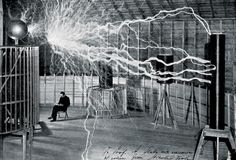 Nikola Tesla in his Niagara Falls lab with his coils, which could discharge millions of volts and send electricity through the air Bettmann/Corbis