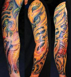 Biomechanical style sleeve by Guy Aitchison. Tattoo Artist: Guy Aitchison
