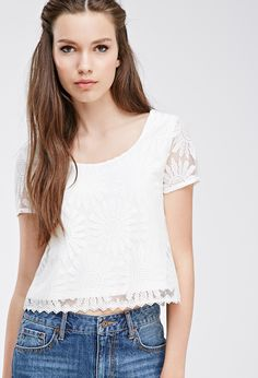 Embroidered Lace Boxy Top