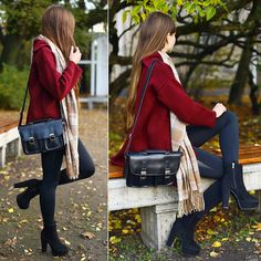 Get this look: http://lb.nu/look/6772632  More looks by Ariadna Majewska: http://lb.nu/ariadna92  Items in this look:  Burgundy Coat, Butik Black Pants, Beige Checked Scarf, Black Bag   #casual #chic #street