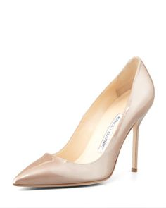 BB Point-Toe Metallic Patent Pump, Nude by Manolo Blahnik at Neiman Marcus.