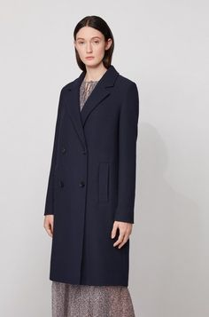 BOSS - Relaxed-fit coat in waffle-structured stretch fabric Fit Back, Jacquard Weave, Smart Casual, Hugo Boss, Waffle, Stretch Fabric, Double Breasted, Women Wear, Coats