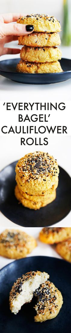 to Make Cauliflower Bread Everything Bagel Cauliflower Rolls {Low-carb, grain-free, paleo-friendly, no refined sugar} Top Recipes, Paleo Recipes, Low Carb Recipes, Whole Food Recipes, Cooking Recipes, Low Carb Bagels, Keto Bagels, Eat Better, Everything Bagel