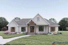 White Farmhouse Exterior, Craftsman Farmhouse, Modern Farmhouse Exterior, Craftsman House Plans, Farmhouse Home Plans, Farmhouse Bedrooms, Ranch Exterior, Craftsman Homes, Craftsman Style