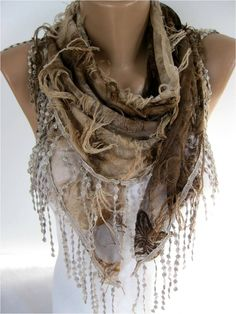 Elegant Brown Scarf Cowl with Lace Edge Fashion by MebaDesign