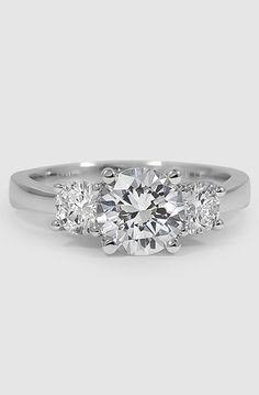18K White Gold Three Stone Diamond Trellis Ring