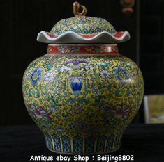 "12"" Rare Marked Chinese Famille Rose Porcelain Fruit Peach Flower Pot Jar Crock"