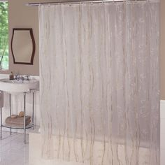Bamboo Shower Curtain A Decorative Print Of Tan Stems And Leaves Run Up Down