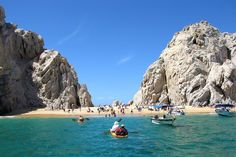 3. Playa del Amor. Nestled at the meeting between the Sea of Cortez and the Pacific Ocean, the secluded two-sided Playa del Amor (Lover's Beach) is one of the most famous beaches in Mexico. The beach is easily accessible by water boat from the marina of Cabo San Lucas. It is well worth a visit- with the towering Land's End rock formations, endless ocean views, and great snorkeling on the sea of Cortez side, the place is exquisite. Touropia