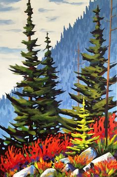 Garibaldi Crimson by Brian Buhler Rachel Pohl, Claire Boucher, Colourful Art, Whimsical, Canada, Painting, Beautiful, Painting Art, Paintings