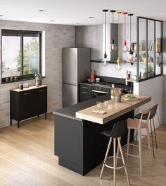 Beautiful small kitchen design ideas and decor 1 Kitchen Room Design, Home Decor Kitchen, Interior Design Kitchen, Kitchen Furniture, New Kitchen, Home Kitchens, Kitchen With Bar Counter, Modern Kitchens, Kitchen Small