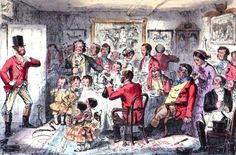 Arriving at a family gathering.                        From:1860 Mr Sponge's Sporting Tour by Robert Smith Surtees.                                               via Google Books             (PD-100)                suzilove.com