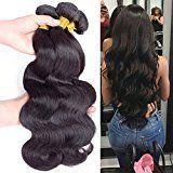Brazilian Body Wave Unprocessed Hair 3 Bundles, Body Wave Remy Hair Extensions Virgin Hair, Soft Untangled Thick Smooth Pretty and True to Length (14&16&18)