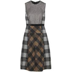 Etro Plaid Wool Dress ($1,285) ❤ liked on Polyvore featuring dresses, brown, etro dresses, brown dresses, tartan plaid dress, plaid dress and tartan dress
