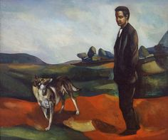 Leon Kelly (1901-1982) Portrait Of The Artist And His Dog 1932