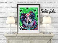 DIGITAL Print File - Australian Shepherd Art Painting Art Print Poster by Heather Galler (HG675)